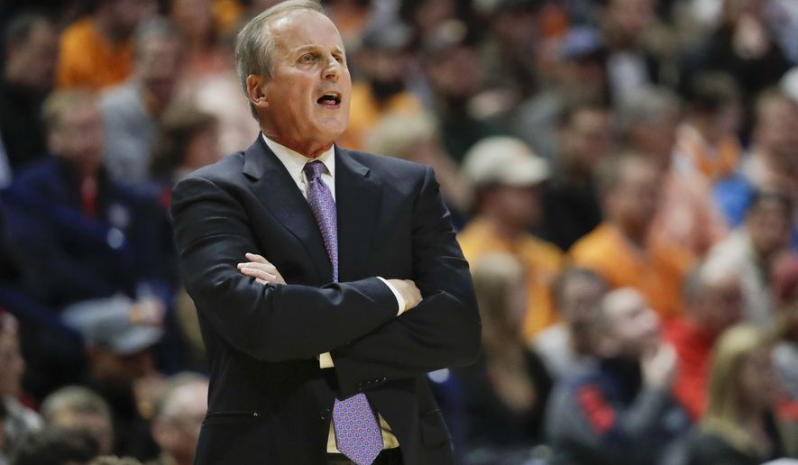 FILE - In this Dec. 18, 2016, file photo, Tennessee head coach Rick Barnes directs his players in an NCAA college basketball game against Gonzaga in Nashville, Tenn. Tennessee and Vanderbilt are enduring growing pains that leave both of these in-state rivals carrying .500 records and needing to regain some momentum as they prepare to face off for the first time this season Saturday in Nashville. (AP Photo/Mark Humphrey, File)