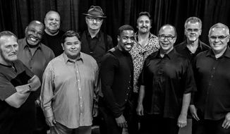 """This Aug. 2016 photo provided by courtesy of Tower of Power/Webster Public Relations, shows the band members from Tower of Power, from left, Rocco Prestia, Roger Smith, Sal Cracchiolo, Adolfo Acosta, Stephen """"Doc"""" Kupka, Marcus Scott, Tom E. Politzer, Emilio Castillo, David Garibaldi, and Jerry Cortez. Two members of Tower of Power, a group that has been an R&B institution for nearly 50 years, were hit by a train Thursday night, Jan. 12, 2017, as they walked across tracks before a scheduled gig in their hometown of Oakland, Calif., but both survived, their manager said. Calling it an """"unfortunate accident,"""" manager Jeremy Westby said in a statement that drummer Garibaldi and bass player Marc van Wageningen (not pictured) are """"responsive and being treated at a local hospital."""" (Tower of Power/Webster Public Relations via AP)"""