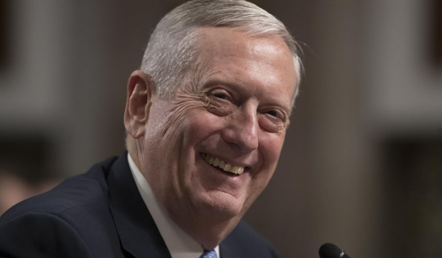 Defense Secretary-designate James Mattis smiles as he testifies on Capitol Hill in Washington, Thursday, Jan. 12, 2017, at his confirmation hearing before the Senate Armed Services Committee. (AP Photo/J. Scott Applewhite)