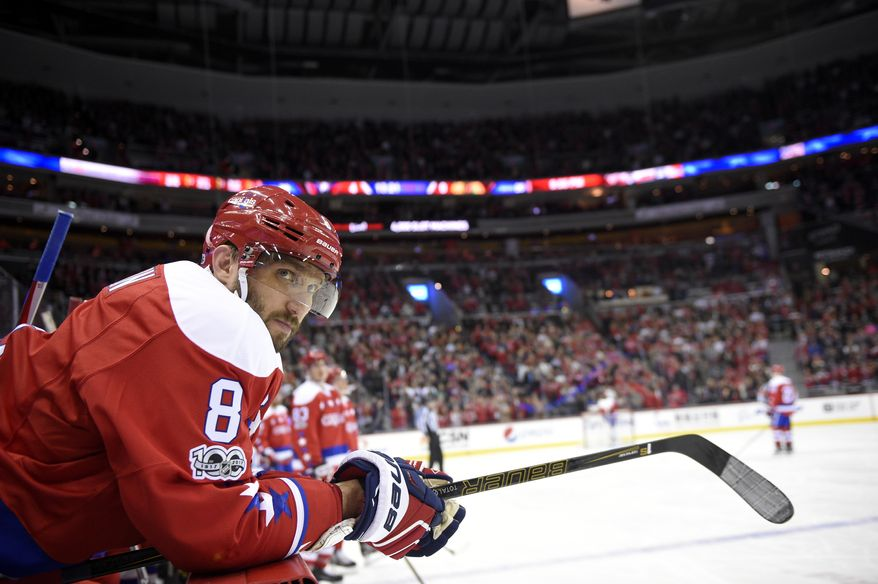 Washington Capitals left wing Alex Ovechkin (8), of Russia, looks on during the third period of an NHL hockey game against the Chicago Blackhawks, Friday, Jan. 13, 2017, in Washington. The Capitals won 6-0. (AP Photo/Nick Wass)