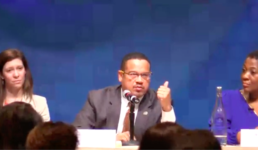 "Rep. Keith Ellison of Michigan, a candidate running to be chairman of the Democratic National Committee, is shown here speaking at the Jan. 14  DNC ""Future Forum"" in Phoenix, Ariz.  (Screen capture from YouTube via DailyKos.com)"