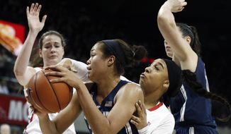 Connecticut forward Napheesa Collier, center, battles SMU guard Devri Owens, second from right, during the first half of an NCAA college basketball game, Saturday, Jan. 14, 2017, in Dallas. (AP Photo/Brandon Wade)