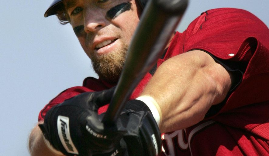 ADVANCE FOR WEEKEND EDITIONS JAN. 14-15 - FILE - In this March 6, 2006 file photo, Houston Astros' Jeff Bagwell warms up before the start of a spring training baseball game, in Kissimmee, Fla.  Jeff Bagwell is expected to be elected to the Hall of Fame on Wednesday, Jan. 18, 2017. After being on the ballot since 2011, the Houston Astros slugger said the No. 1 thing he'll feel when he hears the results won't be happiness or disappointment, but something different altogether after such a long wait. (AP Photo/Steven Senne, File)
