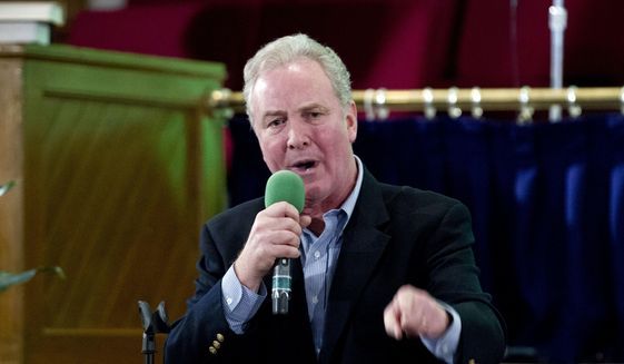 Sen. Chris Van Hollen D-Md., speaks to a group of immigration rights advocates, during the rally against President-elect Donald Trump immigration policies, at Metropolitan AME Church in Washington, Saturday, Jan. 14, 2017. (AP Photo/Jose Luis Magana) ** FILE **