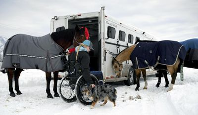 Amberley Snyder pets her dog Ellie Mae as she and her sister, Autumn Snyder, prepare horses to ride for practice Tuesday, Jan. 3, 2017 at the Spanish Fork fairgrounds in Spanish Fork, Utah.  Amberley Snyder has no feeling in her legs, but the barrel-racer isn't letting that slow her down. (Isaac Hale /The Daily Herald via AP)