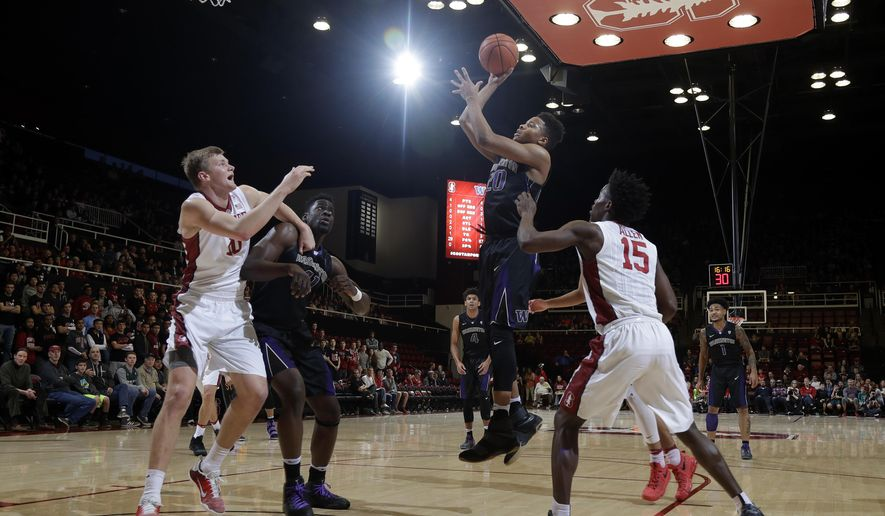 Washington guard Markelle Fultz (20) shoots past Stanford guard Marcus Allen (15) during the first half of an NCAA college basketball game Saturday, Jan. 14, 2017, in Stanford, Calif. (AP Photo/Marcio Jose Sanchez)