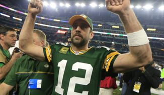 Green Bay Packers' Aaron Rodgers after an NFL divisional playoff football game against the Dallas Cowboys Sunday, Jan. 15, 2017, in Arlington, Texas. The Packers won 34-31. (AP Photo/Ron Jenkins)