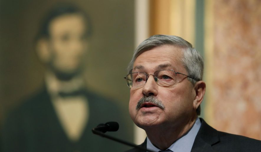 FILE - In a Tuesday, Jan. 10, 2017 file photo, republican Iowa Gov. Terry Branstad delivers his annual condition of the state address before a joint session of the Iowa Legislature, at the Statehouse in Des Moines, Iowa. According to budget projections reviewed by The Associated Press, Branstad has recommended taking $2.8 million previously given to child and family services so it can be redirected to create a roughly $3.3 million program that distributes family planning money to organizations that do not perform abortions.  (AP Photo/Charlie Neibergall, File)