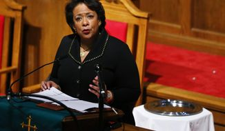 Attorney General Loretta Lynch speaks at the 16th Street Baptist Church, Sunday, Jan. 15, 2017, in Birmingham, Ala. (AP Photo/Brynn Anderson)