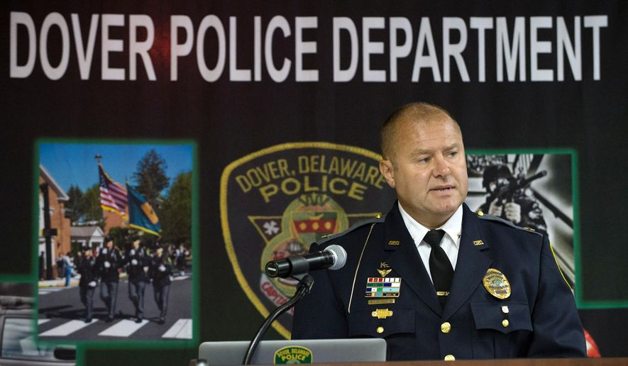 In this June 30, 2016 photo, Dover PoliceChief Paul M. Bernat speaks at a press conference in Dover, Del. After three years as chief and nearly three decades as a police officer, all but 1 and a half years in Dover, Bernat says he is walking away with no regrets. (Jason Minto/The Wilmington News-Journal via AP)