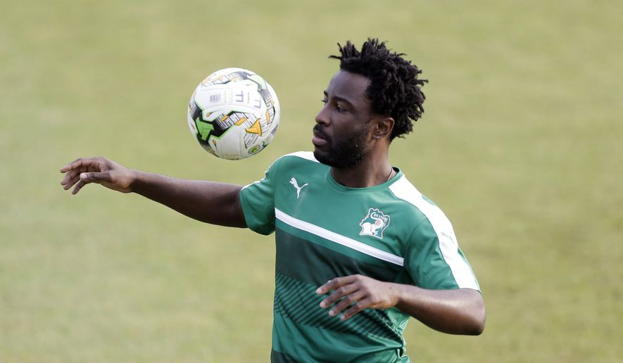 Ivory Coast's Wilfried Bony controls the ball during a training session in Stade Akoakam Oyem, Gabon, Sunday, Jan. 15, 2017, ahead of their African Cup of Nations Group C soccer match against Togo. (AP Photo/Sunday Alamba)
