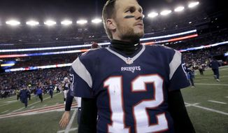 New England Patriots quarterback Tom Brady leaves the field after the Patriots defeated the Houston Texans 34-16 in an NFL divisional playoff football game, Saturday, Jan. 14, 2017, in Foxborough, Mass. (AP Photo/Steven Senne)