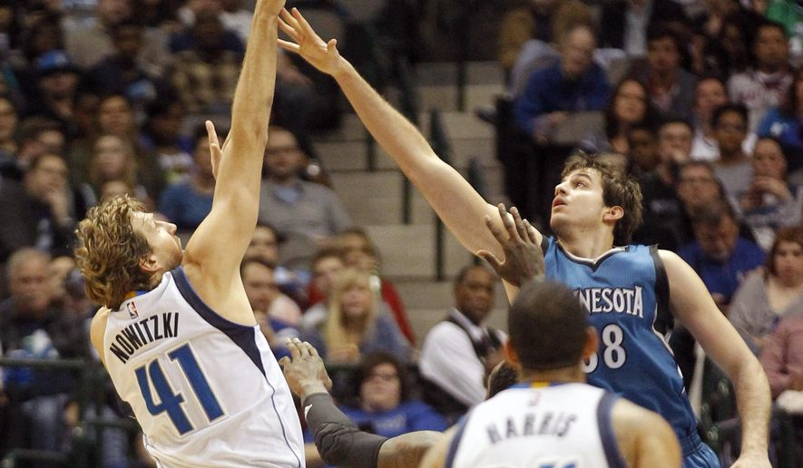 Dallas Mavericks center Dirk Nowitzki (41) shoots over Minnesota Timberwolves forward Nemanja Bjelica during the first half of an NBA basketball game, Sunday, Jan. 15, 2017, in Dallas. (AP Photo/Tim Sharp)