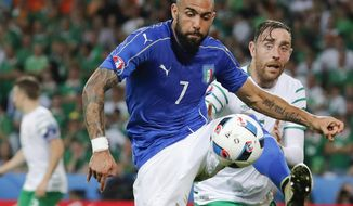 FILE - In this Wednesday, June 22, 2016 file photo, Italy's Simone Zaza goes for the ball during the Euro 2016 Group E soccer match between Italy and Ireland at the Pierre Mauroy stadium in Villeneuve d'Ascq, near Lille, France. Valencia has signed striker Simone Zaza, Sunday Jan. 15, 2017, on a loan from Juventus until the end of the season. (AP Photo/Antonio Calanni, File)