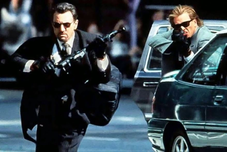"""Heat is a 1995 American crime film written, produced and directed by Michael Mann, and starring Robert De Niro, Al Pacino, and Val Kilmer. It is a remake of Mann's 1989 TV movie L.A. Takedown. De Niro plays Neil McCauley, a professional thief, while Pacino plays Lt. Vincent Hanna, a LAPD robbery-homicide detective tracking down McCauley's crew. The story is based on the former Chicago police officer Chuck Adamson's pursuit during the 1960s of a criminal named McCauley, after whom De Niro's character is named. Heat was a commercial success, grossing $67 million in the United States and $187 million worldwide (about $295 million in 2017) against a $60 million budget. It was well received by critics. The film-critic aggregator Rotten Tomatoes reports 86% positive reviews, calling the film """"an engrossing crime drama that draws compelling performances from its stars and confirms Michael Mann's mastery of the genre."""""""