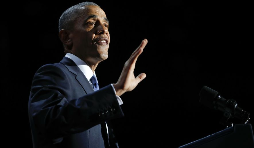 President Barack Obama speaks during his farewell address at McCormick Place in Chicago on Jan. 10, 2017. (Associated Press) **FILE**