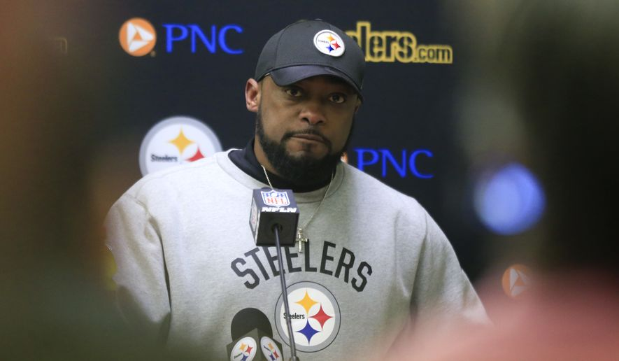 Pittsburgh Steelers head coach Mike Tomlin speaks a news conference after an NFL divisional playoff football game against the Kansas City Chiefs Sunday, Jan. 15, 2017, in Kansas City, Mo. The Steelers won 18-16. (AP Photo/Orlin Wagner)