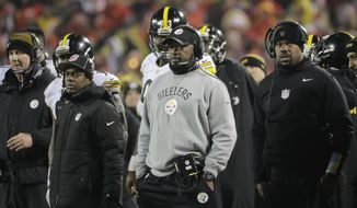 Pittsburgh Steelers head coach Mike Tomlin watches from the sideline as his team played against the Kansas City Chiefs during the second half of an NFL divisional playoff football game Sunday, Jan. 15, 2017, in Kansas City, Mo. (AP Photo/Charlie Riedel)