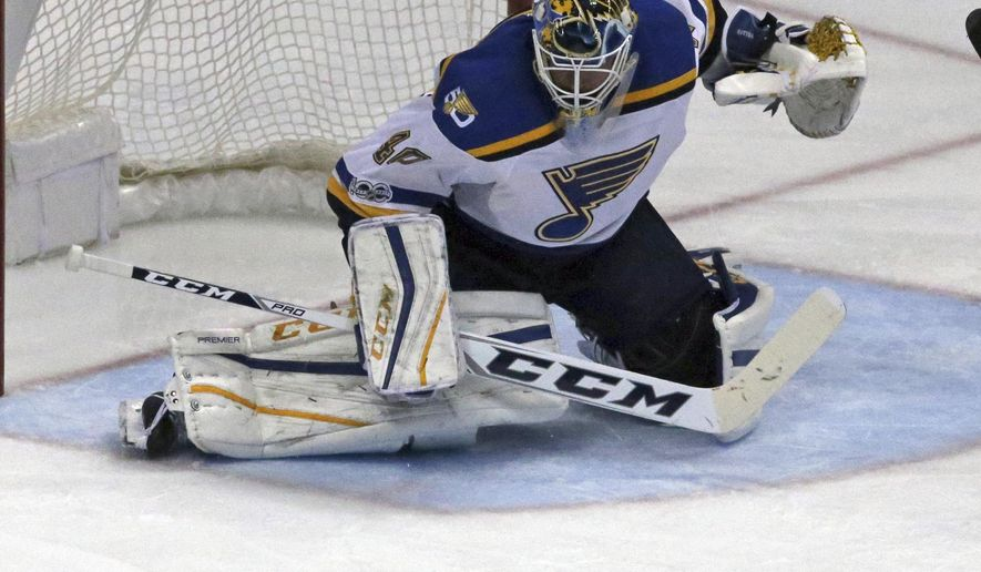 St. Louis Blues goalie Carter Hutton (40) guards the goal against the Anaheim Ducks in the second period of an NHL hockey game in Anaheim, Calif., Sunday, Jan. 15, 2017. (AP Photo/Reed Saxon)