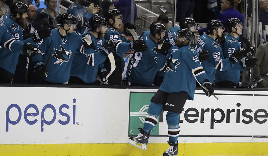 San Jose Sharks' Joel Ward (42) celebrates with teammates on the bench after scoring against the Winnipeg Jets during the first period of an NHL hockey game, Monday, Jan. 16, 2017, in San Jose, Calif. (AP Photo/Marcio Jose Sanchez)