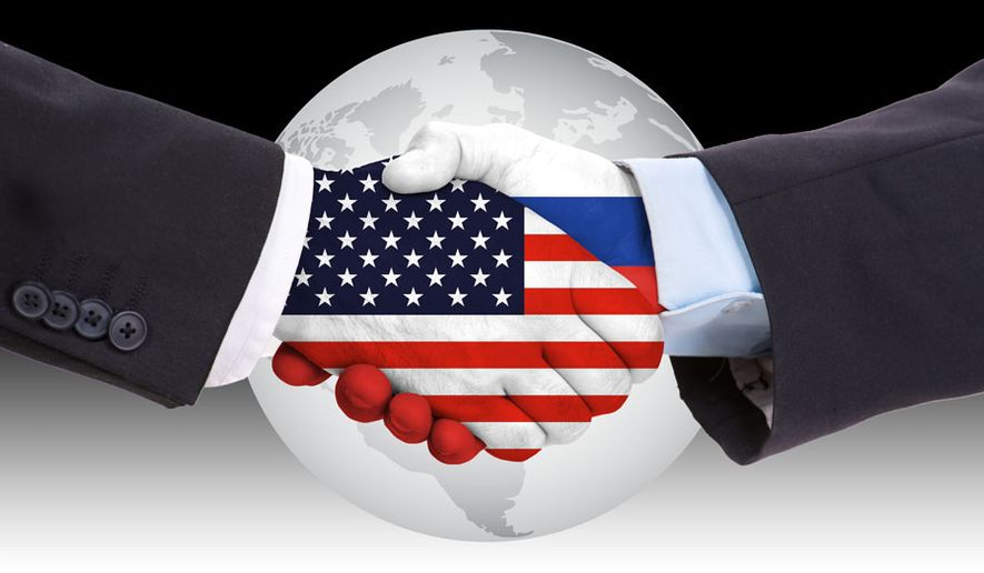Russia and U.S. shaking hands