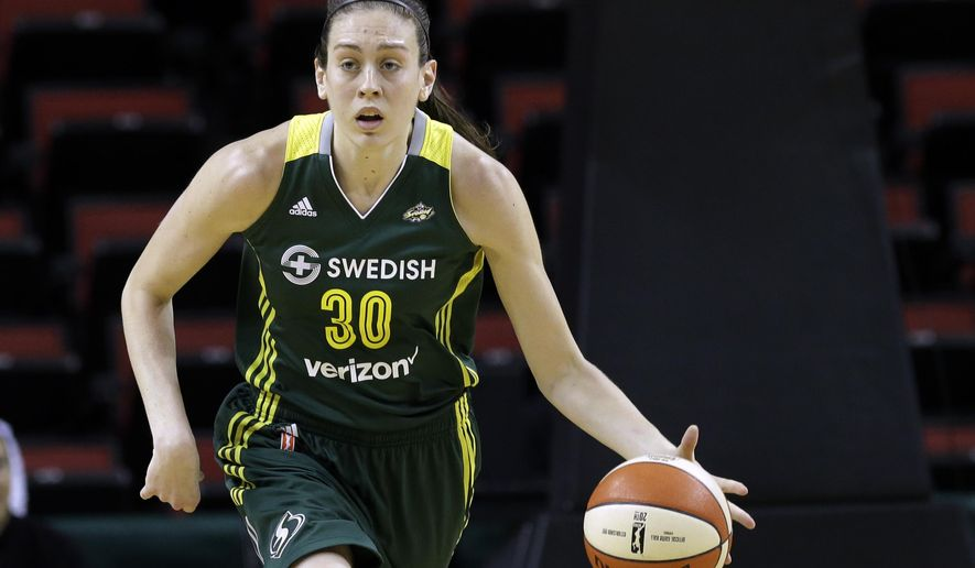 FILE - In this May 4, 2016, file photo, Seattle Storm's Breanna Stewart dribbles against the Phoenix Mercury in a WNBA preseason basketball game in Seattle. Stewart will return to the U.S. from China after spraining the posterior cruciate ligament in her right knee last week while playing for Shanghai in the Chinese basketball league. The Seattle Storm star won't require surgery and is flying back Friday, Jan. 20, 2017, to rehab the injury. (AP Photo/Elaine Thompson, File)