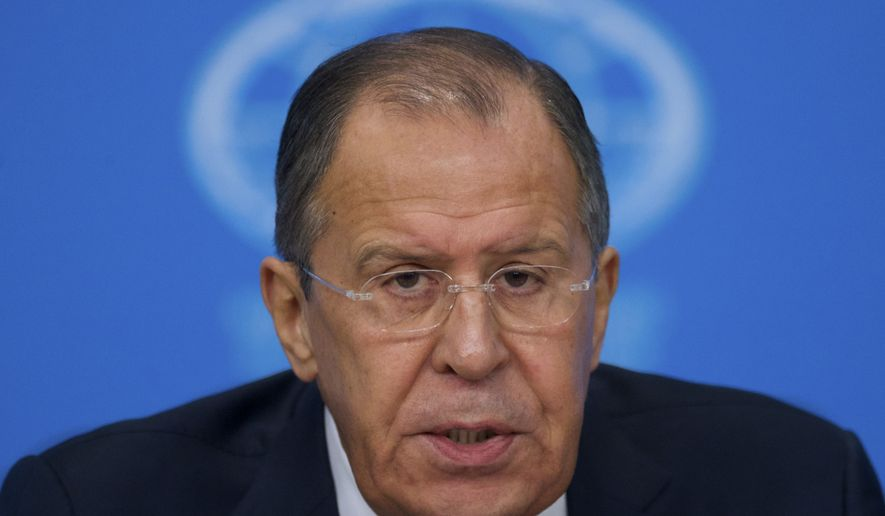 "Russian Foreign Minister Sergey Lavrov speaks during his news conference in Moscow, Russia, on Tuesday, Jan. 17, 2017. Moscow hopes for better ties with the United State based on respect for mutual interests once Donald Trump takes office, in contrast with a ""messianic"" approach of the outgoing administration that has ravaged ties, Russian foreign minister said Tuesday. (AP Photo/Ivan Sekretarev)"