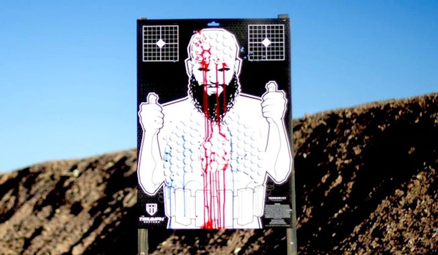 "Former Navy SEAL Jared Ogden's company sells terrorist and zombie range targets that can ""bleed"" red, white  and blue. (Facebook, Triumph Systems)"
