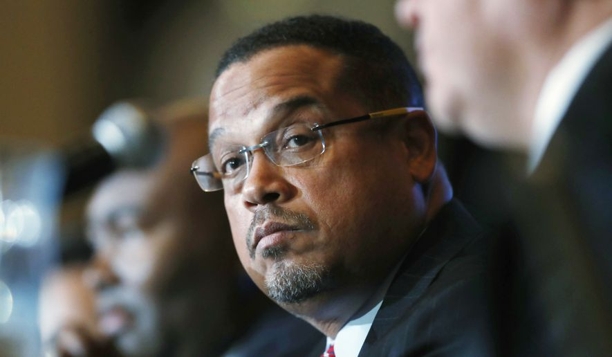 U.S. Rep. Keith Ellison, D-Minn., listens during a forum on the future of the Democratic Party, in Denver in this Dec. 2, 2016, file photo. (AP Photo/David Zalubowski, File)