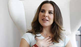 "Mexican actress Kate del Castillo gestures as she speaks during an interview with The Associated Press, Monday, Jan. 16, 2017, in Miami. Del Castillo said Monday that she's lost acting contracts because of the fallout of her involvement in actor Sean Penn's interview with drug lord Joaquin ""El Chapo"" Guzman. Del Castillo releases a PETA campaign Tuesday urging a boycott of Miami Seaquarium until it releases its orca named Lolita. (AP Photo/Wilfredo Lee)"
