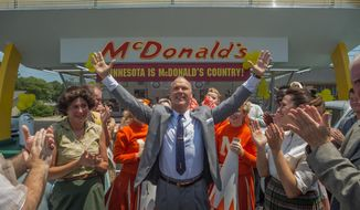 "This image released by The Weinstein Company shows Michael Keaton, center, in a scene from, ""The Founder."" (Daniel McFadden/The Weinstein Company via AP)"
