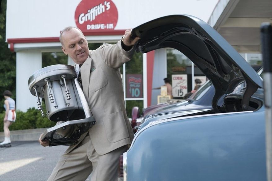 "This image released by The Weinstein Company shows Michael Keaton in a scene from, ""The Founder."" (Tina Rowden/The Weinstein Company via AP)"