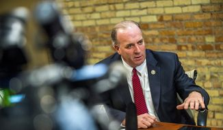 U.S. Rep. Dan Kildee, D-Flint Township, speaks about the continued necessity of a solution for the Flint water crisis hours prior to Michigan Gov. Rick Snyder's State of the State Address, Tuesday, Jan. 17, 2017 in Lansing, Mich. (Jake May/The Flint Journal-MLive.com via AP) ** FILE **