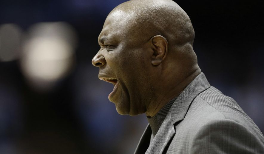 Florida State head coach Leonard Hamilton yells during the first half of an NCAA college basketball game against North Carolina in Chapel Hill, N.C., Saturday, Jan. 14, 2017. North Carolina won 96-83. (AP Photo/Gerry Broome)