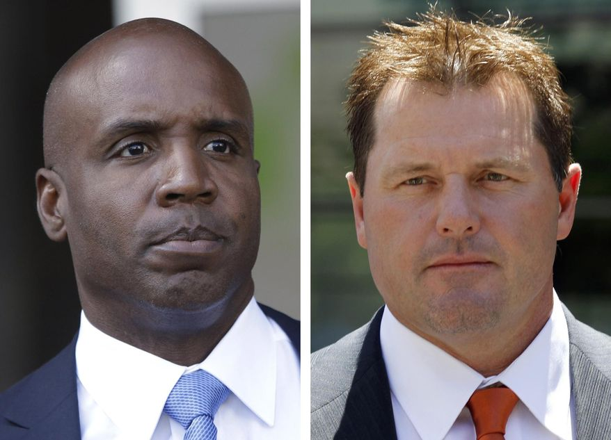 FILE - At left, in a June 23, 2011, file photo, former San Francisco Giants baseball player Barry Bonds leaves federal court in San Francisco. At right, in a July 14, 2011 file photo, former Major League baseball pitcher Roger Clemens leaves federal court in Washington. Tim Raines and Jeff Bagwell are likely to be voted into baseball's Hall of Fame on Wednesday, Jan. 18, 2017, when Trevor Hoffman and Ivan Rodriguez also could gain the honor. Bonds and Clemens, shunned because of allegations of steroids use, appear set for big increases in their voters. (AP Photo/File)