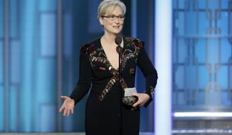 Meryl Streep accepts the Cecil B. DeMille Award at the 74th Annual Golden Globe Awards in Beverly Hills, California, Jan. 8, 2017. The actress, who gave an impassioned speech at the Golden Globes criticizing President-elect Donald Trump for mocking a disabled reporter and calling for the defense of a free press, will be honored for a career of advocating for LGBTQ equality on Feb. 11, by the Human Rights Campaign, the LGBTQ civil rights organization. (Paul Drinkwater/NBC via AP, File) ** FILE **