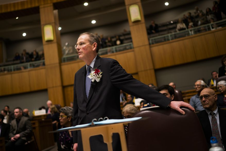 New Mexico Senate Majority Floor Leader Peter Wirth waits to speaks  during the opening of the legislature, Tuesday, Jan. 17, 2017, in Santa Fe, N.M. (AP Photo/Craig Fritz)