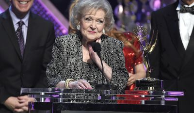 FILE - In this April 26, 2015, file photo, Betty White accepts the lifetime achievement award at the 42nd annual Daytime Emmy Awards at Warner Bros. Studios on Sunday, April 26, 2015, in Burbank, Calif. White turned 95 on Jan. 17, 2017. (Photo by Chris Pizzello/Invision/AP, File)