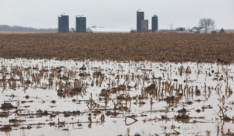 A farm field is flooded along Fruitvale Road on Tuesday, Jan. 17, 2016, in Muskegon County, Mich. Freezing rain and icy roadways forced officials to close schools in parts of Michigan Tuesday and are blamed in a crash that killed a woman in the Flint area.(Joel Bissell/Muskegon Chronicle-MLive.com via AP)