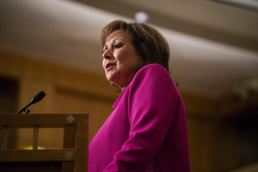 New Mexico Gov. Susana Martinez delivers her State of the State address, Tuesday, Jan. 17, 2017, in Santa Fe, N.M. (AP Photo/Craig Fritz)