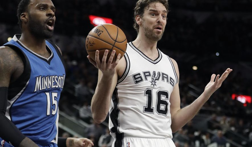 San Antonio Spurs center Pau Gasol (16) reacts after he was called for a foul during the first half of the team's NBA basketball game against the Minnesota Timberwolves, Tuesday, Jan. 17, 2017, in San Antonio. (AP Photo/Eric Gay)