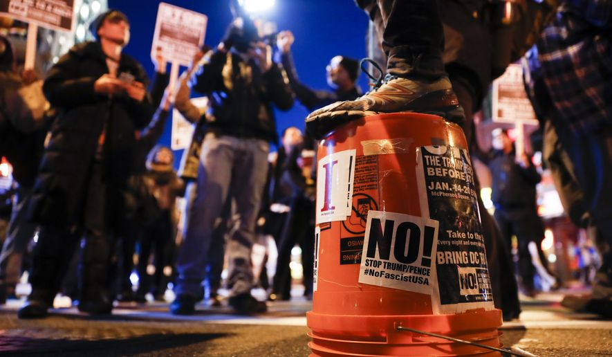 Protestors gather for a march on the Capitol Building as preparations continue ahead of the presidential inauguration, Wednesday, Jan. 18, 2017, in Washington. (AP Photo/John Minchillo)