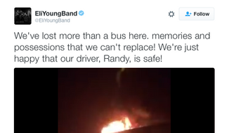 The tour bus for country group the Eli Young Band is shown aflame in this video posted on the group's Twitter page. No injuries were reported from the blaze. (Eli Young Band/Twitter)