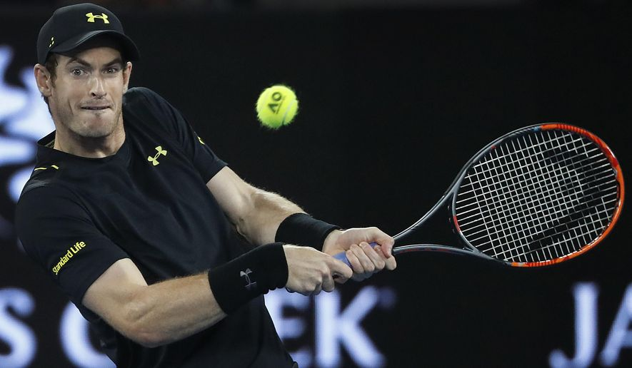 Britain's Andy Murray makes a backhand return to Russia's Andrey Rublev during their second round match at the Australian Open tennis championships in Melbourne, Australia, Wednesday, Jan. 18, 2017. (AP Photo/Dita Alangkara)