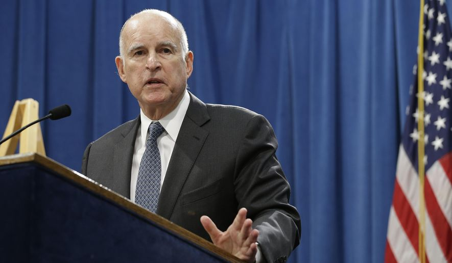 FILE--In this Jan. 10, 2017, file photo, California Gov. Jerry Brown discusses his 2017-2018 state budget plan in Sacramento, Calif. Brown's administration miscalculated costs for the state Medi-Cal program by $1.9 billion last year, an oversight that contributed to Brown's projection of a deficit in the upcoming budget, officials have acknowledged.(AP Photo/Rich Pedroncelli, file)