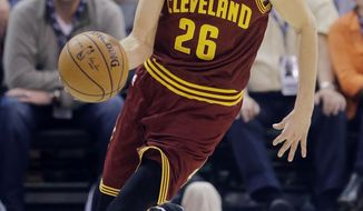 In this Tuesday, Jan. 10, 2017, photo, Cleveland Cavaliers guard Kyle Korver (26) brings the ball up court in the first half during an NBA basketball game against the Utah Jazz in Salt Lake City. Acquired on Jan. 7 in a trade with Atlanta, Korver practiced with the Cavs for the first time in Ohio on Wednesday, Jan. 18, as the team regrouped from a road trip that ended with an embarrassing 126-91 blowout loss to the Golden State Warriors. (AP Photo/Rick Bowmer)