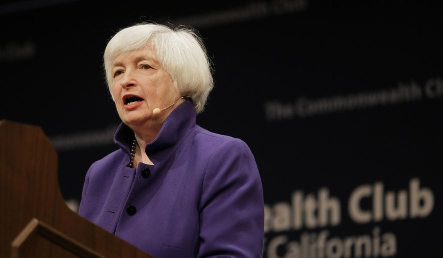 Federal Reserve Board Chair Janet Yellen speaks during a meeting of the Commonwealth Club, Wednesday, Jan. 18, 2017, in San Francisco. Yellen talked about the Fed's goals and the best way to pursue them during her appearance. (AP Photo/Eric Risberg)