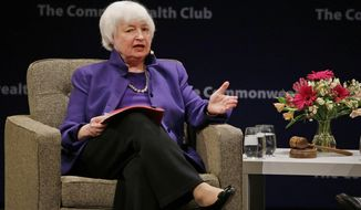 Federal Reserve Board Chair Janet Yellen answers questions during a meeting of the Commonwealth Club Wednesday, Jan. 18, 2017, in San Francisco. Yellen talked about the Fed's goals and the best way to pursue them during her appearance. (AP Photo/Eric Risberg)