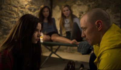 "This image released by Universal Pictures shows Anya Taylor-Joy, left, and James McAvoy, right, in a scene from, ""Split."" (John Baer/Universal Pictures via AP)"
