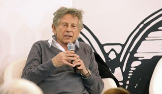 FILE - In this March 20, 2015 file photo, film director Roman Polanski gestures during a debate at the Paris Book Fair in Paris. Polanski will preside over this year's Cesars Awards ceremony, the French equivalent of the Oscars. The Academy of Arts and Techniques of cinema said Wednesday Jan. 18, 2017 the 83-year-old Polanski is expected to deliver two speeches during the Feb. 24 ceremony. (AP Photo/Remy de la Mauviniere, File)